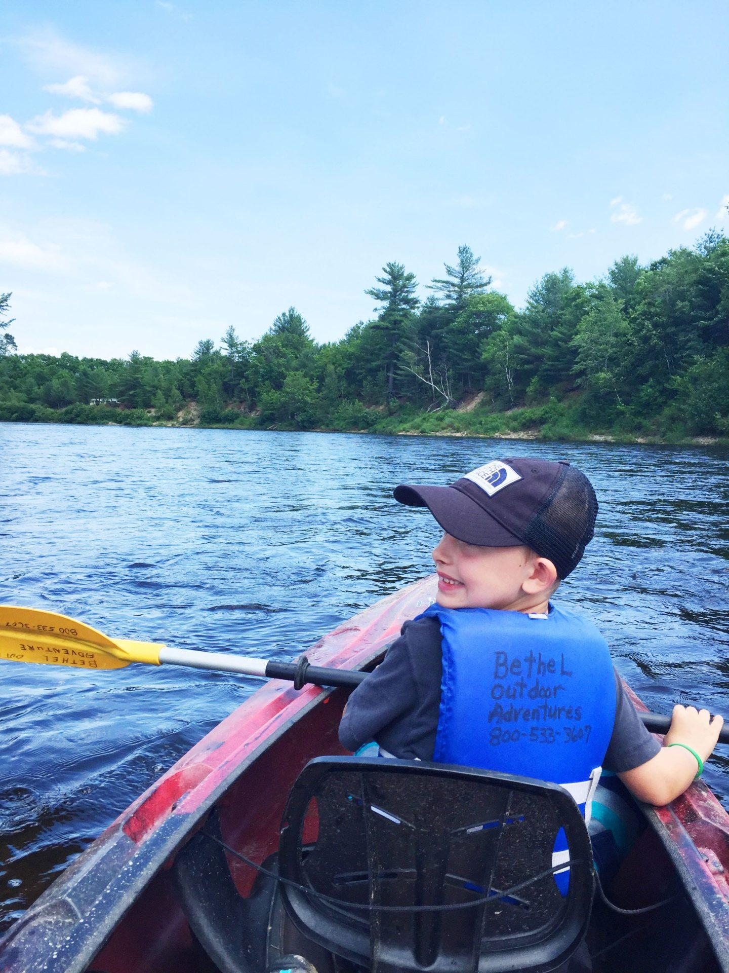 Kayaking down Sunday River in Maine
