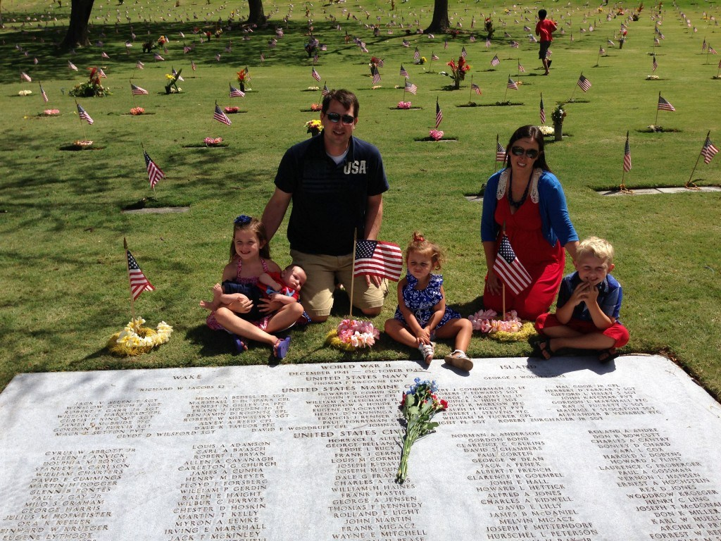 Our family by the grave of Paul's great uncle Quince who died on Wake Island. His namesake great uncle Paul was killed in the Philippines. They were 18 and 19 years old.