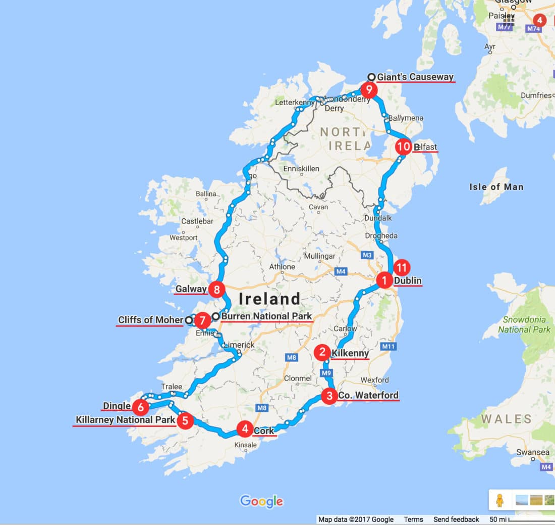 It is a picture of Enterprising Printable Road Map of Ireland