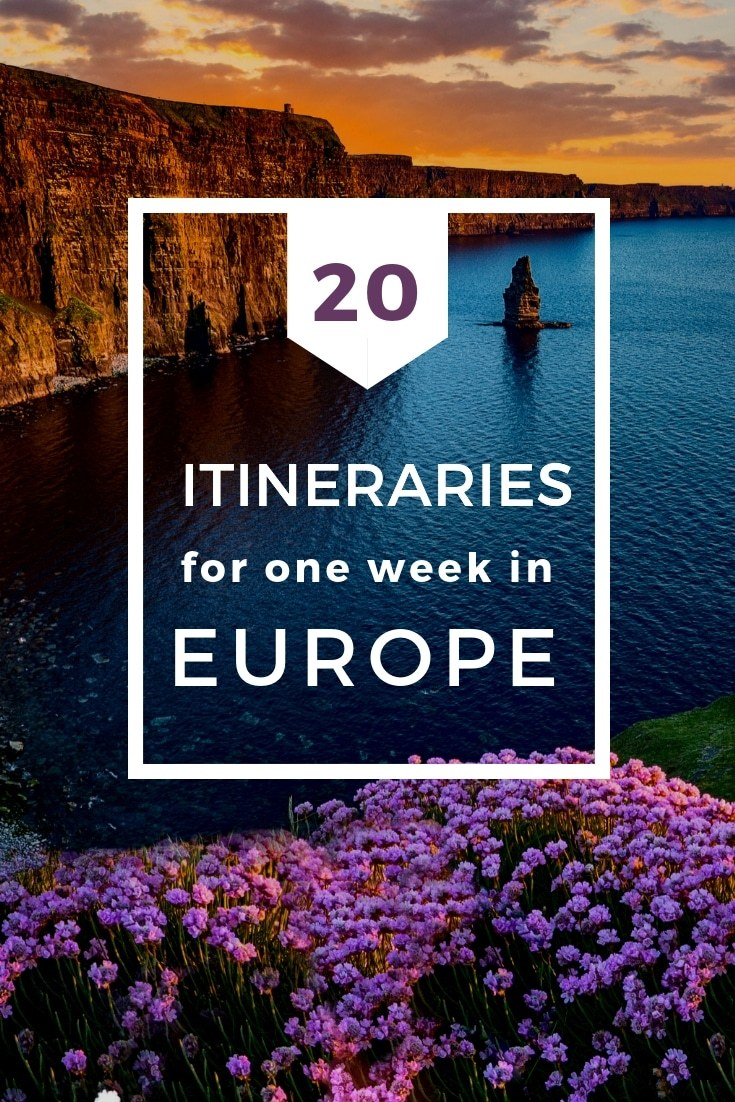 If you're heading to Europe and only have one week to enjoy it, try one of these 20 one week European itineraries that will help you make the most of your time. #Europe #Itinerary #Vacation