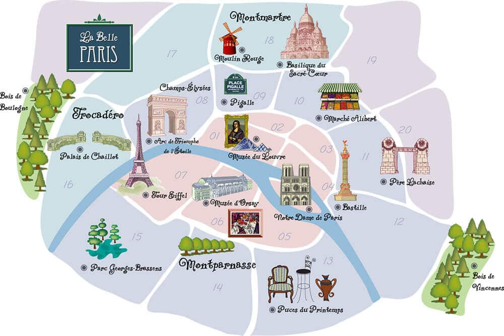 paris arrondissement map